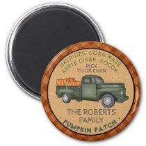 Vintage Truck Pumpkin Patch Farm Rustic Fall Plaid Magnet