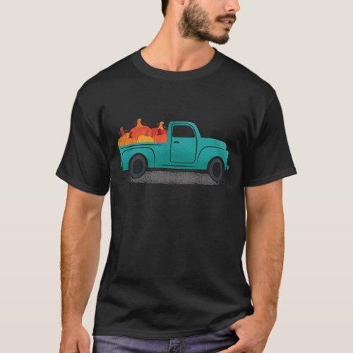 Vintage Truck With Pumpkins Pumpkin Farmer T_Shirt
