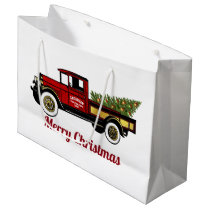 Vintage Truck Your Christmas Tree Farm Large Gift Bag