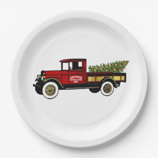 Vintage Truck Your Christmas Tree Farm Paper Plate