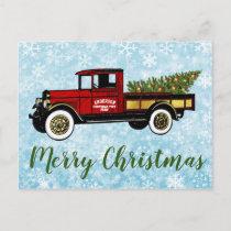 Vintage Truck Your Christmas Tree Farm Postcard