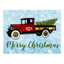 Vintage Truck Your Christmas Tree Farm Postcard