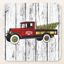 Vintage Truck Your Christmas Tree Farm Square Paper Coaster
