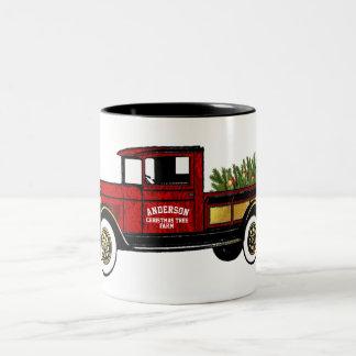 Vintage Truck Your Christmas Tree Farm Two-Tone Coffee Mug