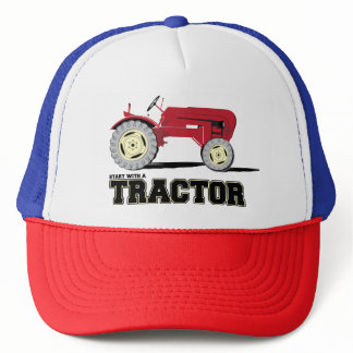 Vintage trucker hat with tractor illustration