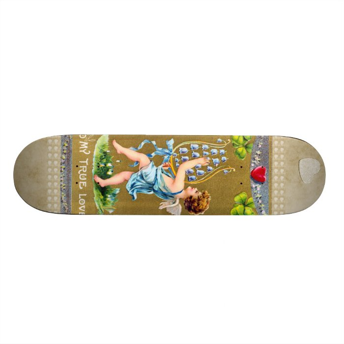 Vintage True Love Valentine Cupid Skateboard