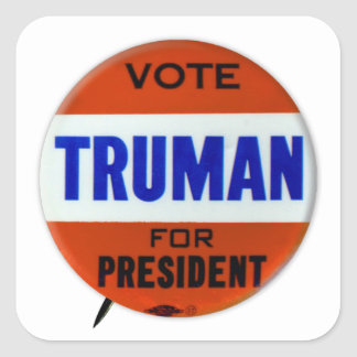 Vintage Truman Campaign Button Vote for Truman Square Sticker