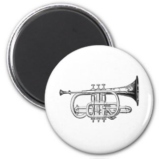 Vintage Trumpet Wood Engraving 2 Inch Round Magnet
