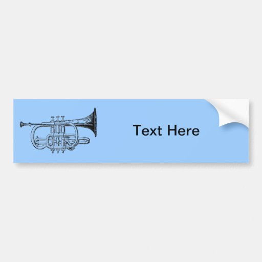 Vintage Trumpet Wood Engraving Bumper Sticker