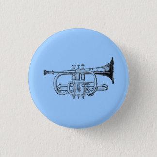 Vintage Trumpet Wood Engraving Button