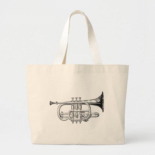 Vintage Trumpet Wood Engraving Canvas Bag