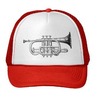 Vintage Trumpet Wood Engraving Trucker Hat