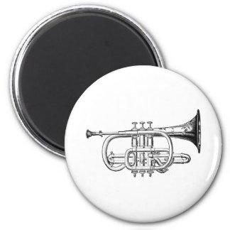 Vintage Trumpet Wood Engraving Fridge Magnet