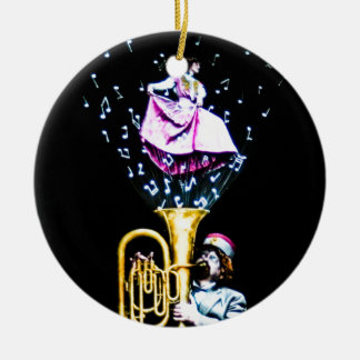 Vintage Tuba Player and Singer Music Notes Ceramic Ornament