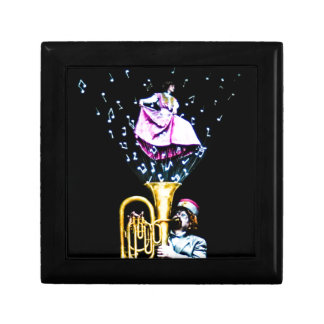 Vintage Tuba Player and Singer Music Notes Gift Box