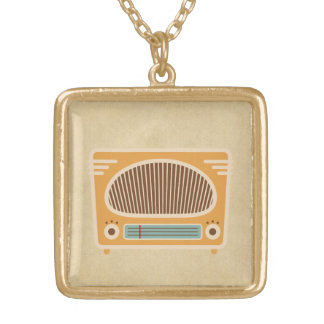 Vintage Tube Radio Collector Square Pendant Necklace