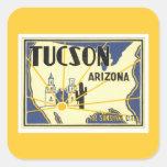 Vintage Tucson Arizona Pegatina Cuadrada