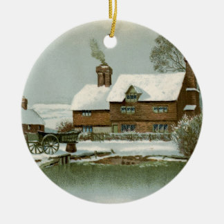 Vintage Tudor Country Cottage Ceramic Ornament