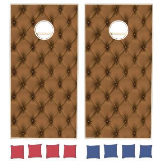 Vintage Tufted Brown Leather. Cornhole Set