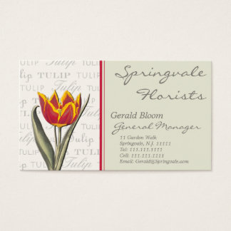 Vintage Tulip Business Card for Florist, Gardener