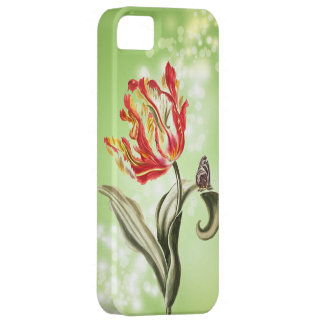 Vintage Tulip Butterfly Garden Springtime Green iPhone 5 Cover
