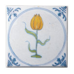 """Vintage Tulip Delft Yellow Art Trivet<br><div class=""""desc"""">A trivet or tile with restored vintage blue and white delft art of a yellow tulip and simple floral elements in blue with a hand painted look. Click Customize It to add your name and more.</div>"""