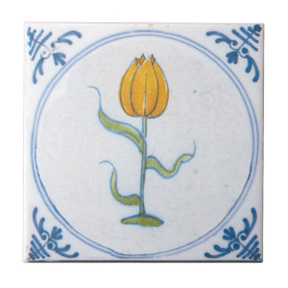 Vintage Tulip Delft Yellow Art Trivet Ceramic Tile