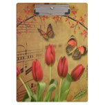 Vintage Tulip Flowers Music Notes With Butterflies Clipboard