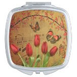 Vintage Tulip Flowers Music Notes With Butterflies Compact Mirror