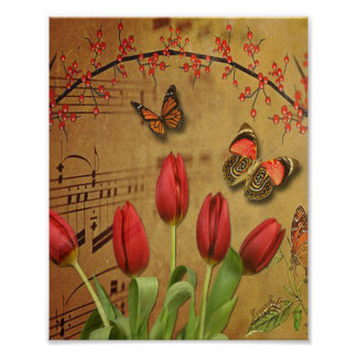 Vintage Tulip Flowers Music Notes With Butterflies Poster