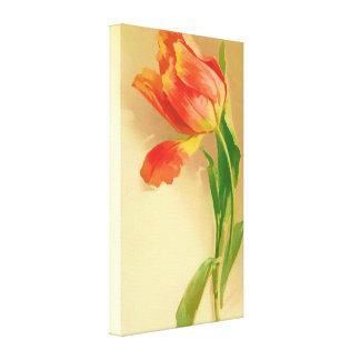 Vintage Tulip Watercolor Tilting Left Canvas Print