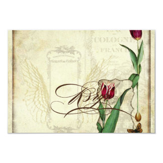 Vintage Tulips Angel Wings Swirl Tea Stained RSVP Card