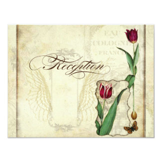 Vintage Tulips Angel Wings Tea Stained Reception Card