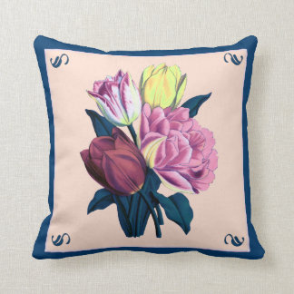 Vintage Tulips in Blues and Pinks Pillow