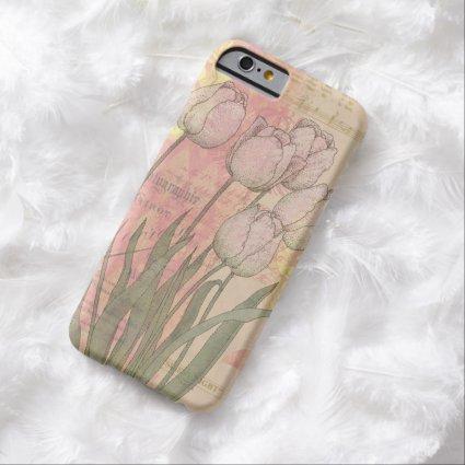 Vintage Tulips on Floral Background