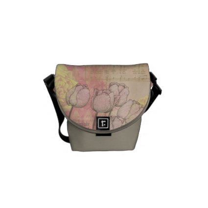 Vintage Tulips on Floral Background Courier Bags
