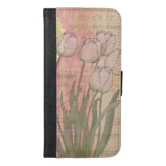 Vintage Tulips on Floral Background iPhone 6/6s Plus Wallet Case