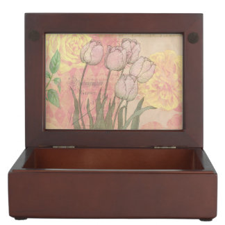 Vintage Tulips on Floral Background Keepsake Box