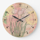 Vintage Tulips on Floral Background Large Clock