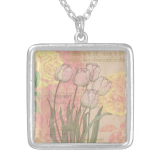 Vintage Tulips on Floral Background Silver Plated Necklace