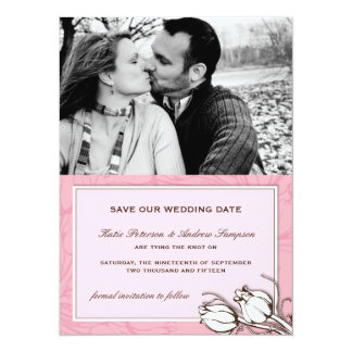 Vintage Tulips Photo Save the Date Custom Announcements