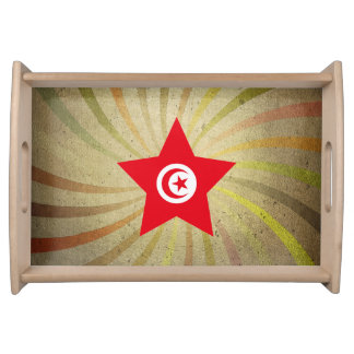 Vintage Tunisian Flag Swirl Serving Tray