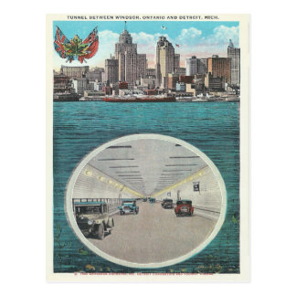 Vintage Tunnel Windsor Ontario Detroit Michigan Post Card