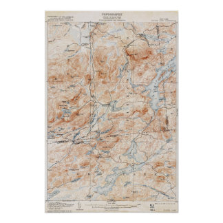 Vintage Tupper Lake New York Topographical Map Poster