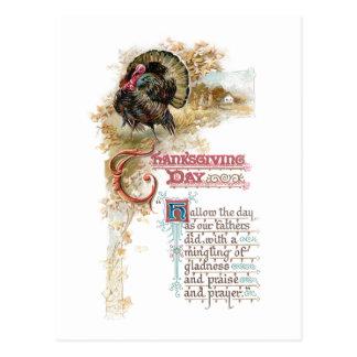 Vintage Turkey and Thanksgiving Verse Postcard