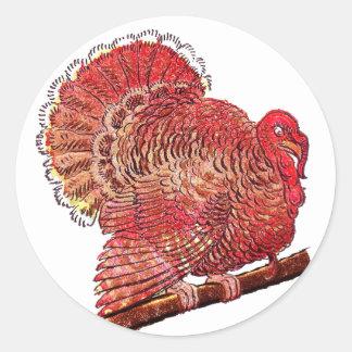 Vintage Turkey Cutout Classic Round Sticker