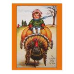 Vintage Turkey Day Illustration Thanksgiving Cards Post Card