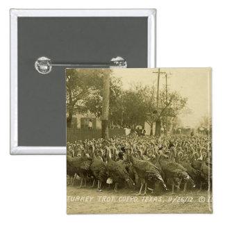 Vintage Turkey Farm Photograph Pinback Button