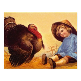 Vintage Turkey In The Straw Party INVITATIONS