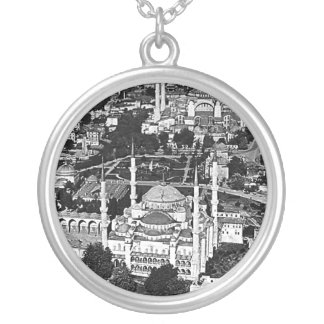 Vintage Turkey Istanbul blue mosque overview 1970 Silver Plated Necklace